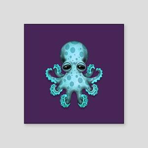 Cute Blue Baby Octopus on Purple Sticker