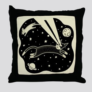 Astro Cat & Mouse Throw Pillow