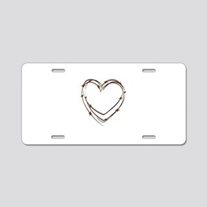 Barbed Wire Heart Aluminum License Plate