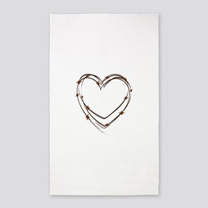 Barbed Wire Heart 3'x5' Area Rug