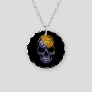 Bosnia - Herzegovina Flag Skull on Black Necklace