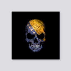 Bosnia - Herzegovina Flag Skull on Black Sticker