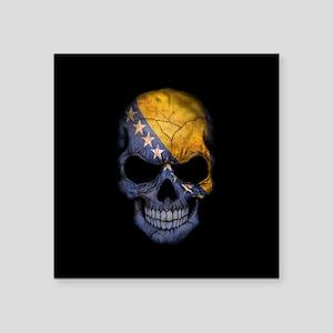 Bosnia - Herzegovina Flag Skull on Black Sticker