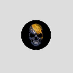 Bosnia - Herzegovina Flag Skull on Black Mini Butt