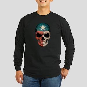 Texas Flag Skull Long Sleeve T-Shirt