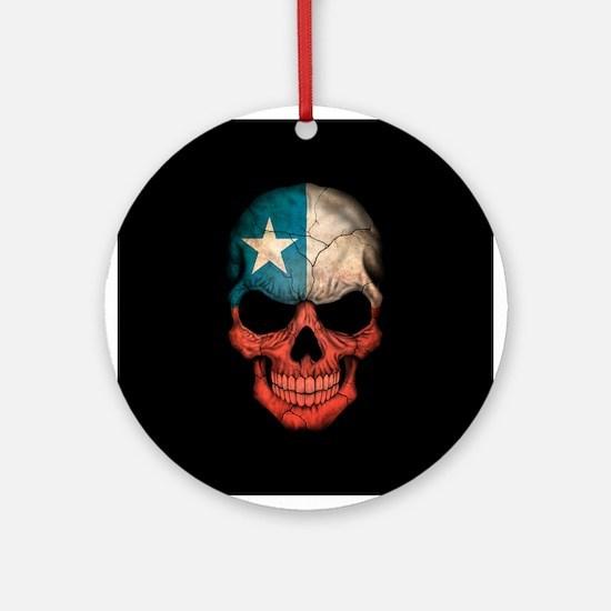 Texas Flag Skull on Black Ornament (Round)