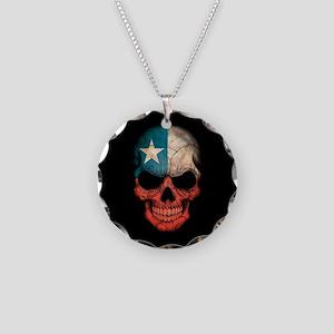 Texas Flag Skull on Black Necklace Circle Charm