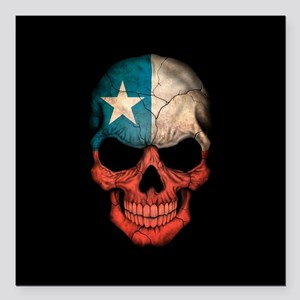 "Texas Flag Skull on Black Square Car Magnet 3"" x 3"