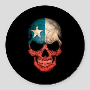 Texas Flag Skull on Black Round Car Magnet