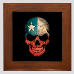 Texas Flag Skull on Black Framed Tile