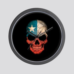Texas Flag Skull on Black Wall Clock