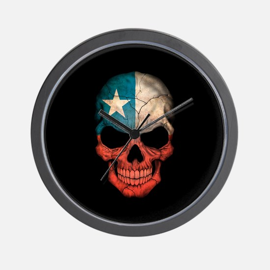 Texas Flag Skull on Black Wall Clock