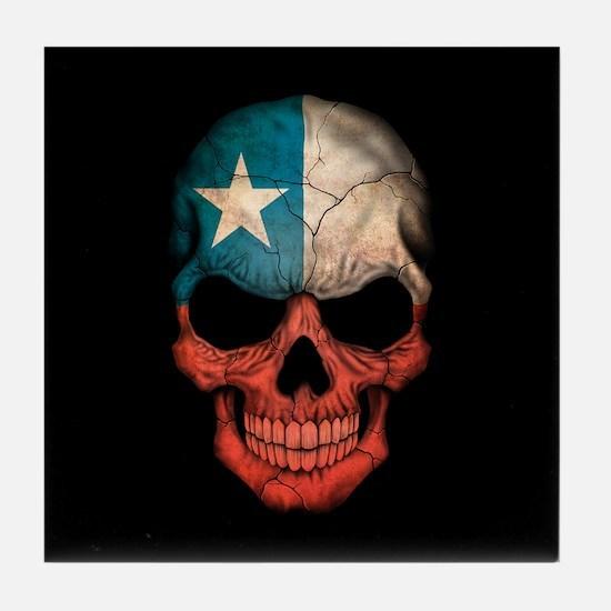 Texas Flag Skull on Black Tile Coaster