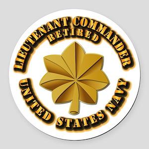 Navy - Lieutenant - O-3 - w Text Round Car Magnet