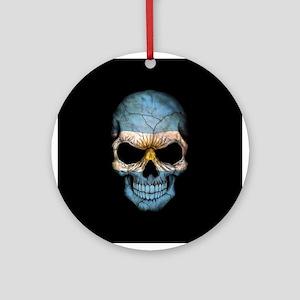 Argentinian Flag Skull on Black Ornament (Round)