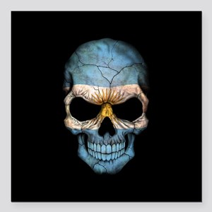 Argentinian Flag Skull on Black Square Car Magnet