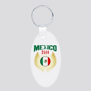 Soccer Mexico 2014 Wings Aluminum Oval Keychain