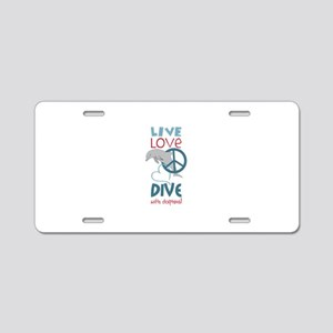 Dive With Dolphins Aluminum License Plate