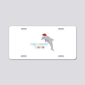 Happy Swimming Aluminum License Plate