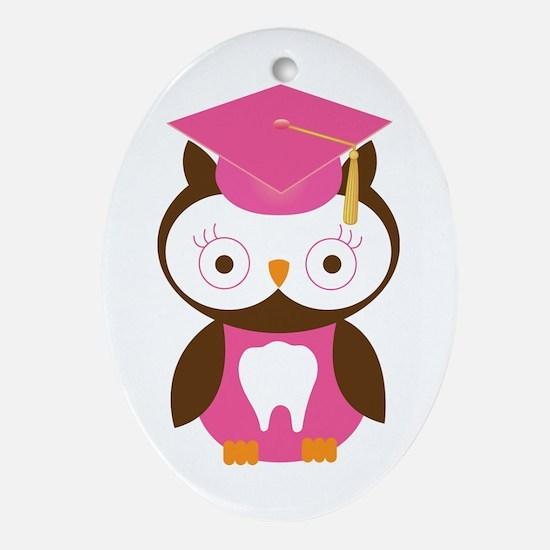 Cute Dental School Graduation Owl Ornament (Oval)