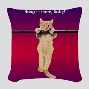 Hang In There Baby Kitten Woven Throw Pillow
