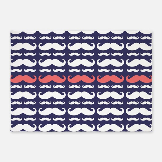 Funny Mustache Pattern 5'x7'Area Rug