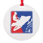 Red White Snowmobile Round Ornament