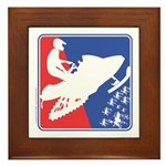 Red White Snowmobile Framed Tile