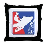 Red White and Blue Snowmobiler Throw Pillow