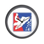 Red White and Blue Snowmobiler Wall Clock