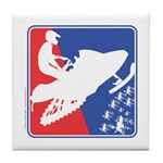 Red White and Blue Snowmobiler Tile Coaster