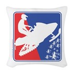 Red White and Blue Snowmobiler Woven Throw Pillow