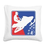Red White and Blue Snowmobile Square Canvas Pillow