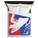 Red White Snowmobile Queen Duvet