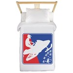 Red White and Blue Snowmobiler Twin Duvet Cover