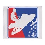 Red White Snowmobile Plush Fleece Throw Blanket