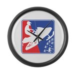 Red White and Blue Snowmobiler Large Wall Clock