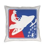 Red White and Blue Snowmobiler Everyday Pillow