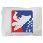 Red White and Blue Snowmobiler Pillow Sham