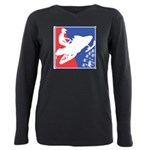 Red White and Blue Snowm Plus Size Long Sleeve Tee