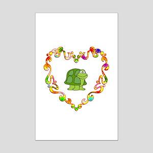 Fancy Heart Turtle Mini Poster Print