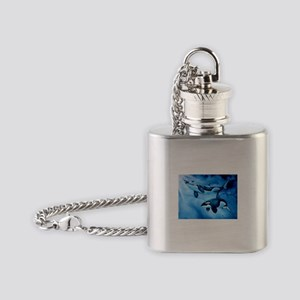 Orca Killer Whale Family Flask Necklace