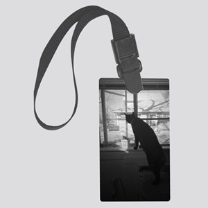 A cat & his window Large Luggage Tag