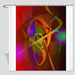 Luminous Brown Digital Abstract Art Shower Curtain