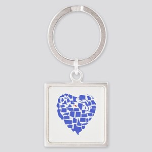 Maryland Heart Square Keychain
