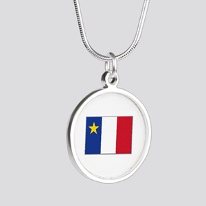 Flag of Acadia Silver Round Necklace