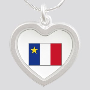 Flag of Acadia Silver Heart Necklace