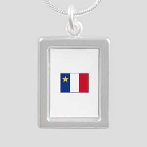 Flag of Acadia Silver Portrait Necklace