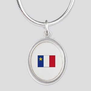 Flag of Acadia Silver Oval Necklace