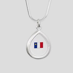 Flag of Acadia Silver Teardrop Necklace